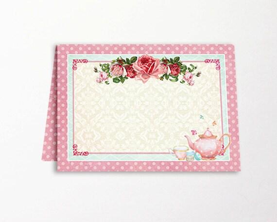Tea Party Tent Cards Place Cards Printable High Tea Bridal