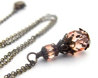 Peach bridesmaid necklace, peach necklace, peach bridesmaid jewelry, peach bridesmaid gift set