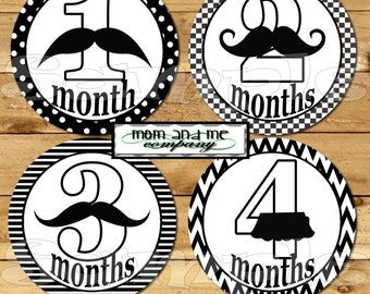 Mustache baby monthly stickers Baby Shower gift 1- 12 Month stickers Baby boy Milestone stickers infant month Stickers Little Man stickers