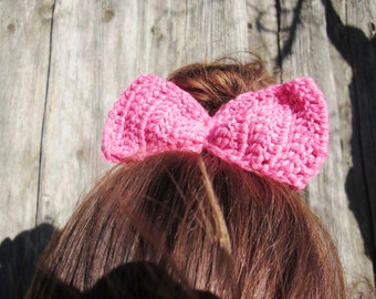 BLACK FRIDAY SALE! Ready to ship! hair bows with rubber, crochet hair bow, pink hair bow, girl hair bow, Gray  Bow Hair