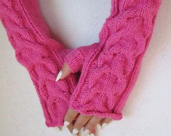 Fingerless gloves, Knitted pink Fingerless Half Gloves with Cable, Woman,  Arm Warmers, winter accessory