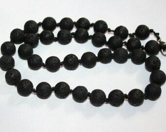 Lava stone 10mm beads. Black lava stone.