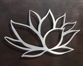 Brushed Lotus Flower Metal Wall Art - Lotus Metal Art - Home Decor - Metal Art - Wall Art - Large Wall Art -Silver Art - Metal Wall Decor