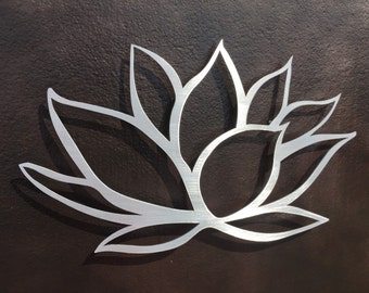 Brushed Lotus Flower Metal Wall Art - Lotus Metal Art - Home Decor - Metal Art - Wall Art - Flower Wall Art -Silver Art - Metal Wall Decor