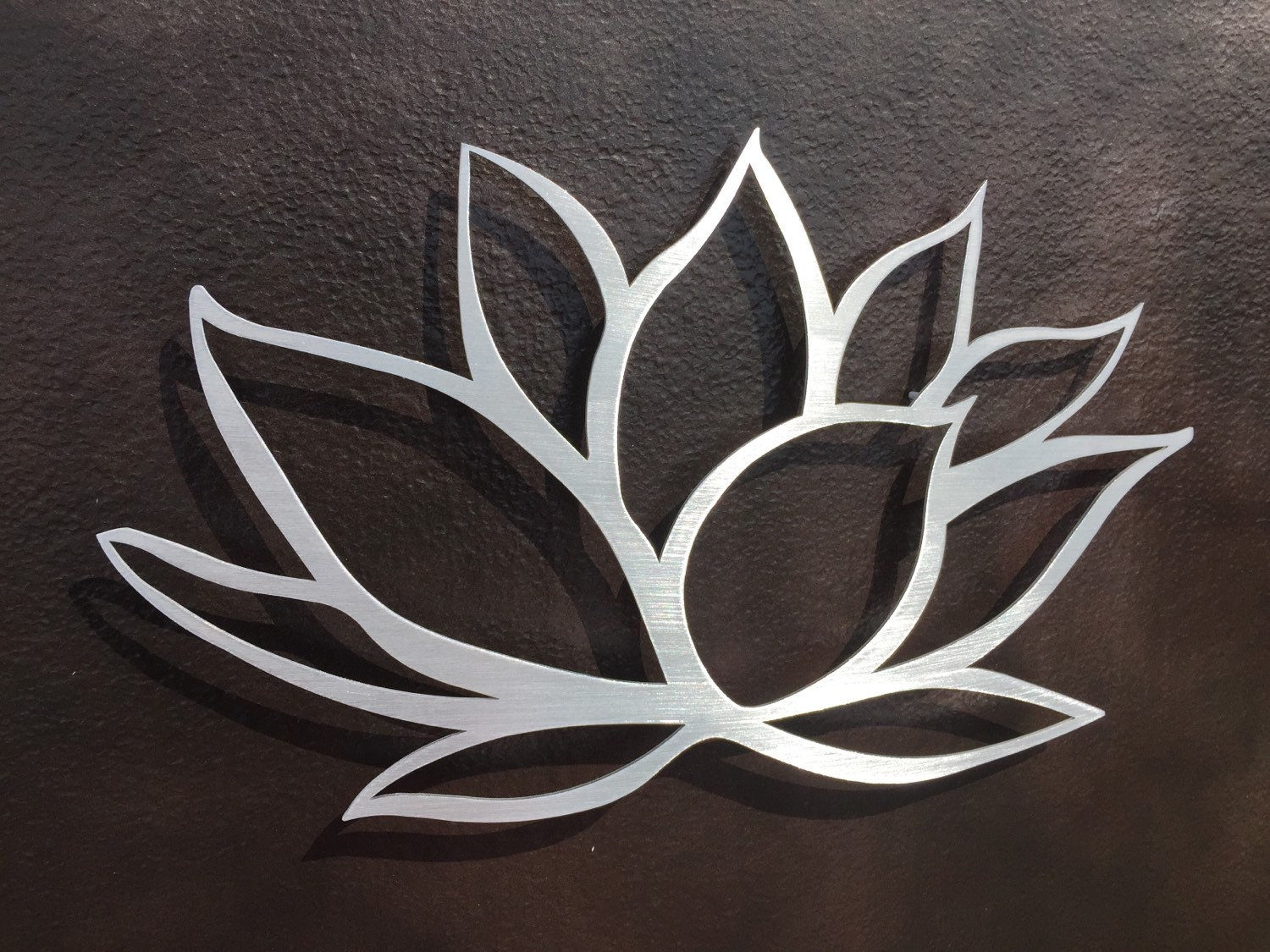 Brushed lotus flower metal wall art lotus metal art home for Metal flower wall art
