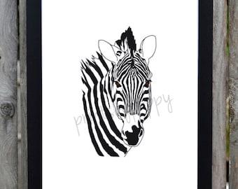 Black and White Zebra - Safari Series - Digital Download