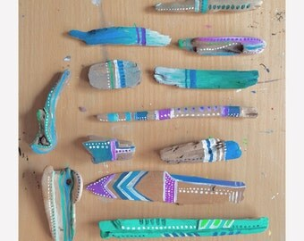 Massorted sets of 2 spirit sticks hand painted driftwood minis /// bohemian art decor