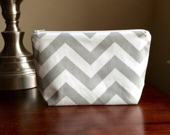 Makeup bag - cosmetic case - zipper pouch, bridesmaid gift - grey chevron zig zag