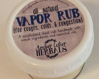 Vapor Rub {All Natural} by Amber Ecker Herbals - 4 oz. Mason Jar with Plastic Lid