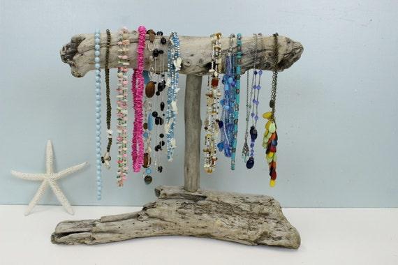 Porte bijoux bois flott affichage de collier bijoux - Porte bijoux en bois ...