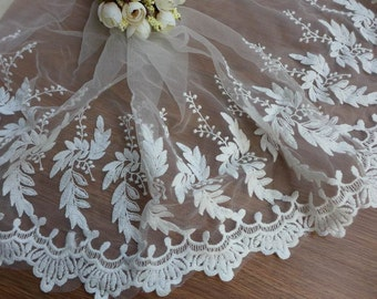 White embroidered long leaves lace trim scalloped edging embroidery lace trim