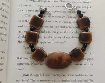 Sale - Handmade Porcelain and Glass Bead Bracelet, Brown and Black Bracelet, Toggle Clasp