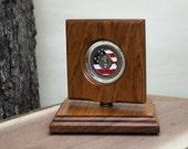 Challenge Coin Rotating Display - Natural Jatoba Wood - Perfect for Challenge Coins... Makes a great gift!