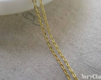 16ft (5m) Gold Plated Brass Flat Oval Cable Chain 1mm A7439