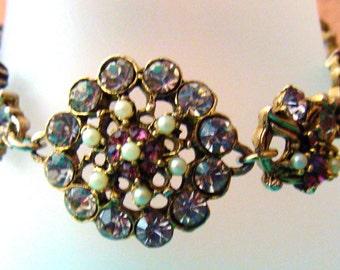 Vintage rhinestone and faux pearl openwork bracelet