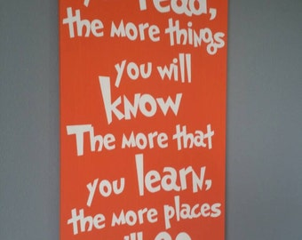 Dr. Seuss Read sign... hand painted NO vinyl wood sign Daycare Classroom Childs room decor  Home Decor Wall Art