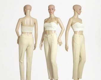 crop pants capris highwaisted beige stretchable 80s 1980s vintage womens cream made in France VOTRE NOM size womens XSMALL