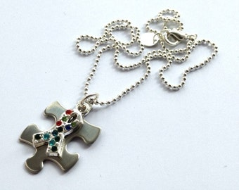 Autism Awareness Mini Jigsaw Necklace 1
