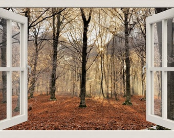3D Window Wall Decal BLACK TREE FOREST Wall Decal, For Living Room,bedroom, Part 63