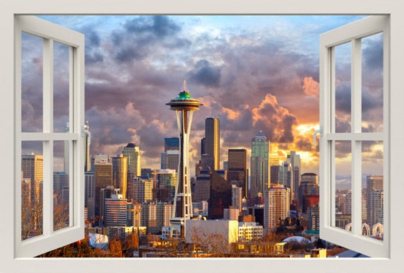 D Window Wall Decal SEATTLE Wall Decal For Living - 3d window wall decals