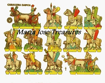 Vintage Egyptian Cavalry Paper Cut Outs - Digital Download