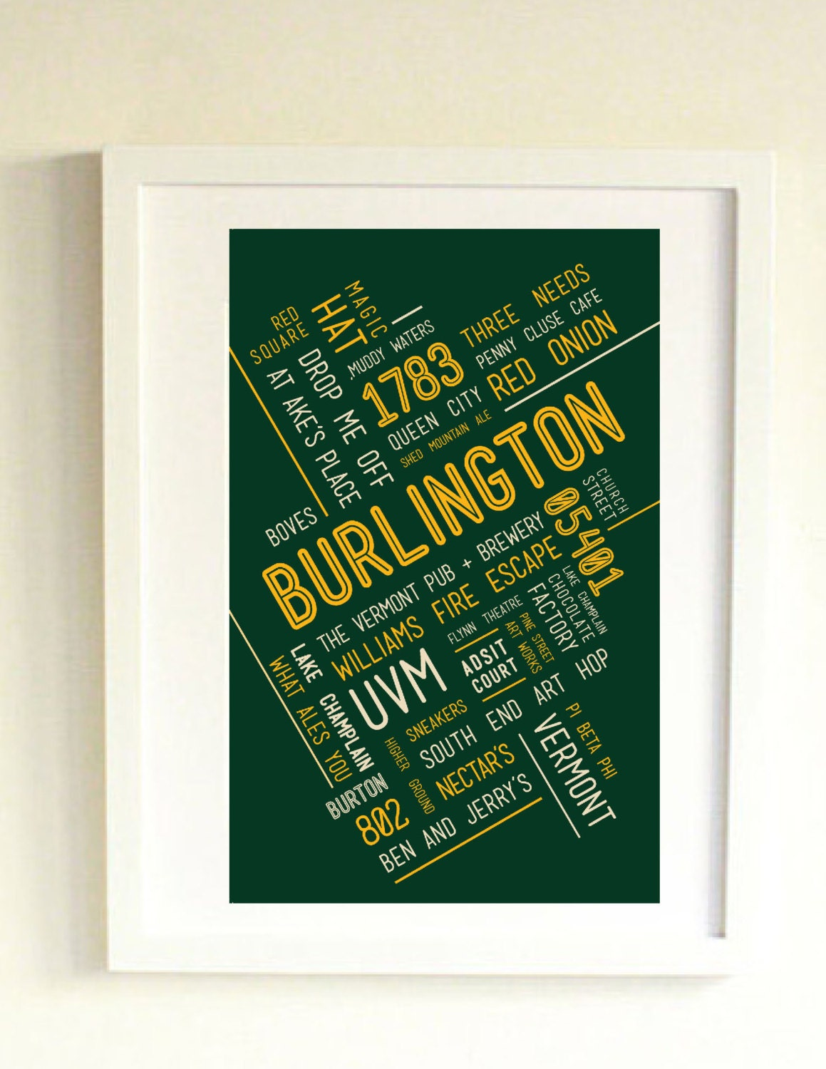 Burlington Vt Art Print Home Decor Townie Poster