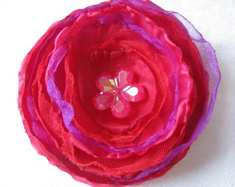 Bright Red, Pink & Purple Floral Brooch/Corsage with Flower Button Centre