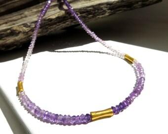 Amethyst Gemstone violet lilac  Necklace /  matte gold antique look, tribal  gemstone jewelry ethno native indians