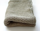 Organic Baby Blanket - Linen blanket - Knitted summer baby blanket / throw
