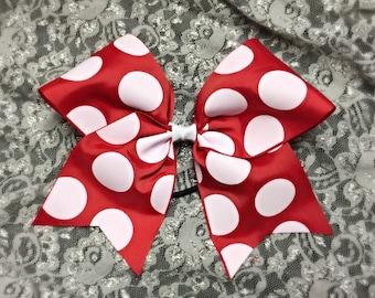 Red Polka Dot Cheer Bow