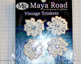 Vintage Trinket Alterable Flowers, Mini, Lace Daisies, 4-Pack by Maya Road