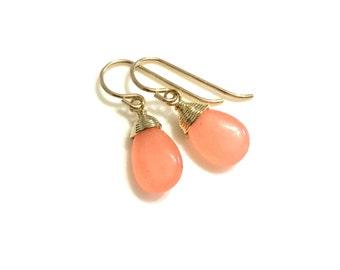 Peach Gold Earrings, Delicate Peach Teardrop, Peach Jade Earrings
