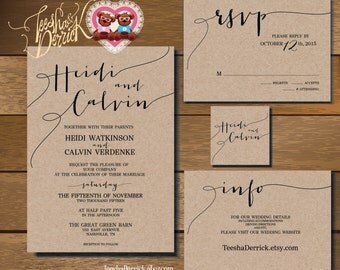 Printable Wedding Invitation Suite  (w0175), consists of wedding invitation and R.S.V.P. card, wedding monogram and info card designs.