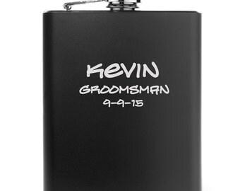 Engraved 7oz Matte Black Stainless Steel Hip Flask Personalized Custom Groomsman Best Man Bridesmaid Wedding Gift