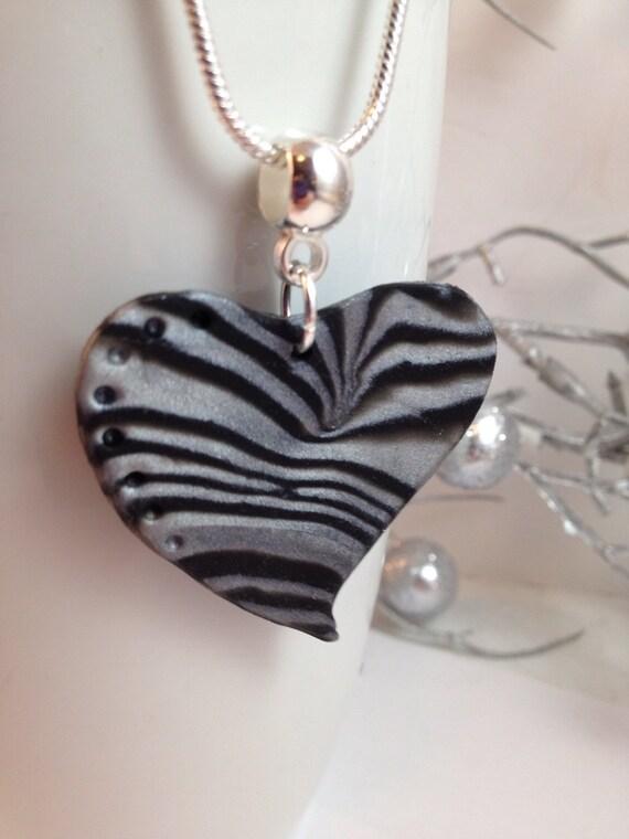 zebra heart pendant