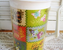 SALE 50% Off -- Vintage 60s Thermo-Serv Colorful Patchwork Insulated Pitcher Faux Embroidered Mushrooms Butterflies Flowers Grapes Retro