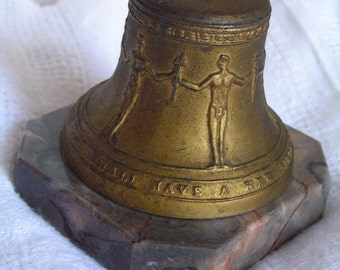 Vintage 50s Metal Marble Freedom Bell Paperweight