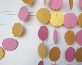 Gold & Pink Garland, Party Paper Circle Garland,  Party Decoration, 12', Ships in 3-5 Business Days