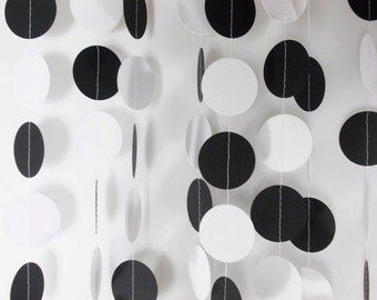 Party Paper Circle Garland Black & White Decoration Party Decor 12'