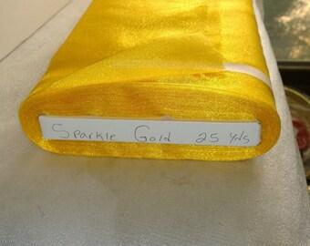 "Sparkle Organza Fabric - Gold, 45"" x 1 Yard"