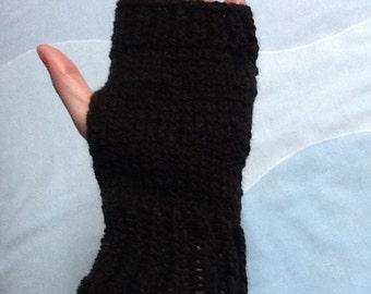 Black Knit Gloves, Simple Black Gloves, Woolly Gloves, Fingerless Gloves, Gloves for Her, Plain Black Gloves, Black Yarn Gloves