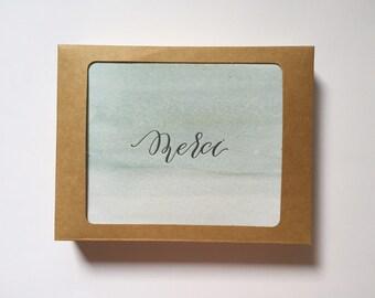 "Letterpress ""Merci"" Card Set"