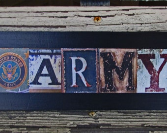 Army sign, military sign, army letter art, rustic army sign, army gift sign, army gift, photo letter art, sign alphabet photography