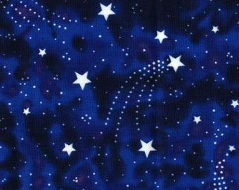 Night sky Starlight Fabric - Nite Star Magic by Mark Hordyszynski for Michael Miller DG 0605 Navy Glow in the Dark - Priced by the half yard