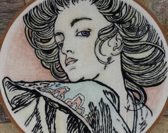 Hand Embroidery. Alphonse Mucha. Fine Art. Hoop Art. Art. Wall Hanging. Wall Art. Art Nouveau. Embroidery Hoop. Made to Order. Illustration.