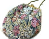 Vintage Floral Tapestry Purse Shoulder Bag, Shabby Chic Floral Bag Purse, Muted Roses Tapestry Pouch Hand Bag, Romantic Cottage Chic Purse