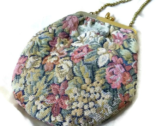 Vintage Floral Tapestry Purse Shoulder Bag, Shabby Chic Floral Bag Purse, Muted Roses Tapestry Pouch Hand Bag, Spring Cottage Chic Purse Bag