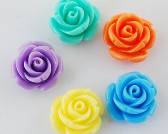 50pcs Mixed Color Two Tone Flower Resin Cabochon, 14mm