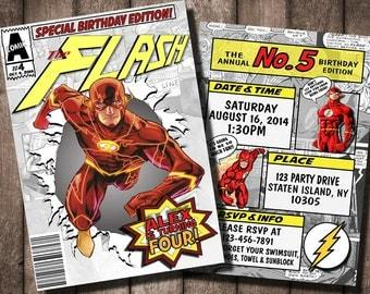 Flash Comic Book Invitation - Digital or Printed Option