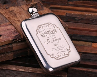 Personalized 6 oz Stainless Steel Metal Whiskey Scotch Flask Unique Men Christmas, Groomsmen, Man Cave, 21st Birthday Gift
